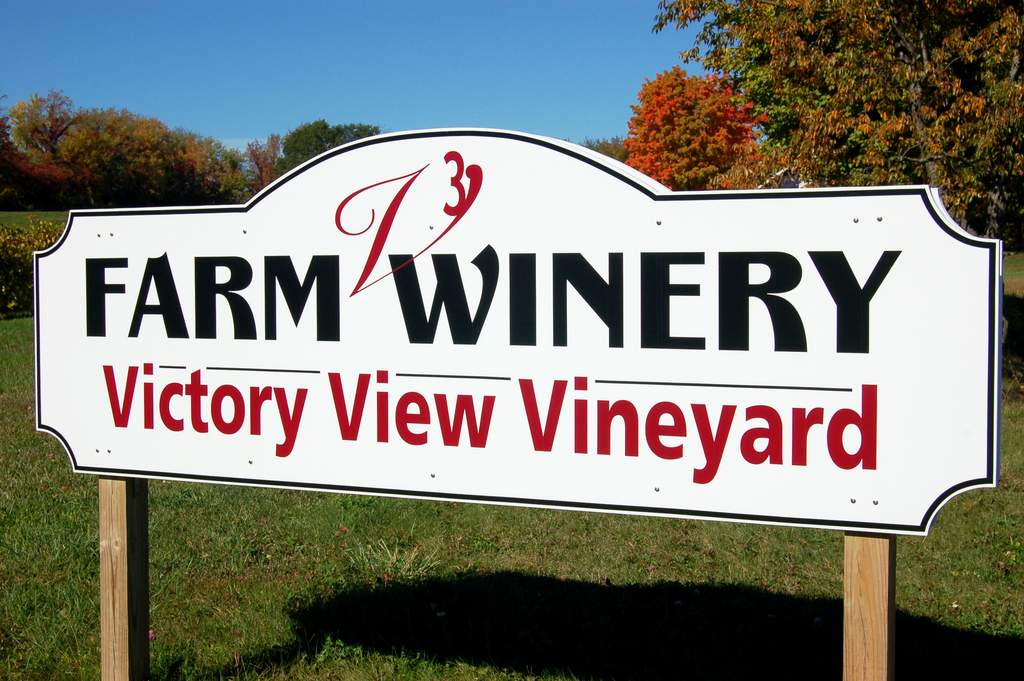 Victory View Vineyard and Farm Winery road sign.