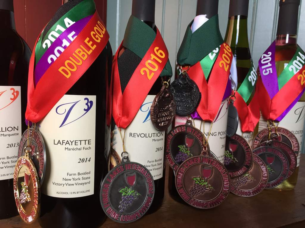 Some of our bottles of wine with medals.