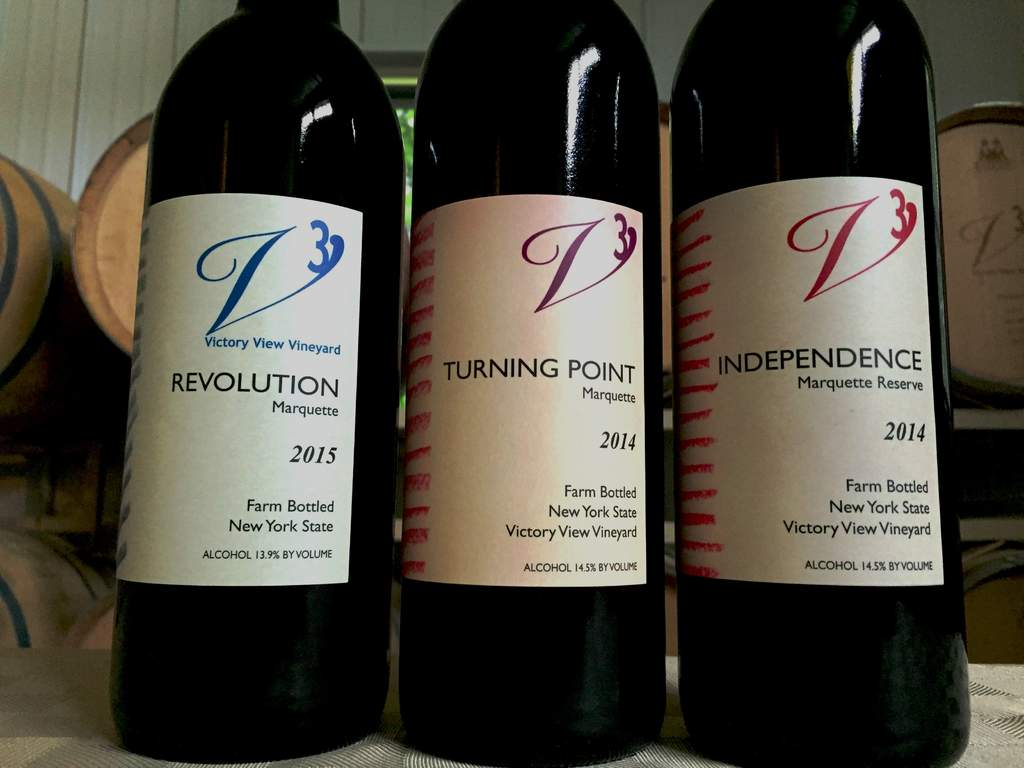 Marquette wine - Revolution, Turning Point and Independence - at Victory View Vineyard.