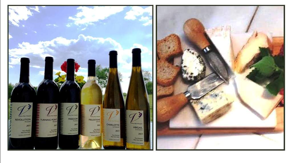Wine and cheese pairing at Gardenworks Farm featuring Victory View Vineyard wines.