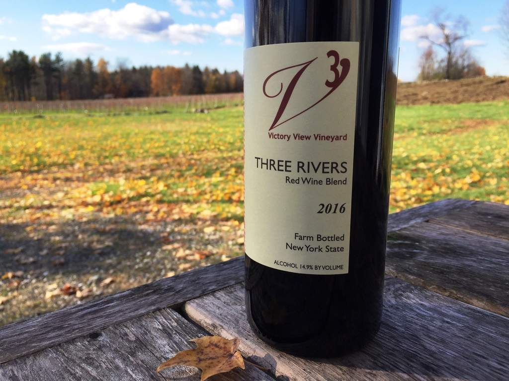 Victory View Vineyard's Three Rivers red blend release on November 11, 2018. Photo shows bottle.