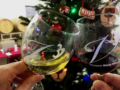 Clinking wine glasses to celebrate the new year