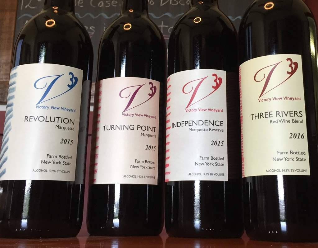 Bottles of Revolution, Turning Point, Independence and Three Rivers marquette wines.