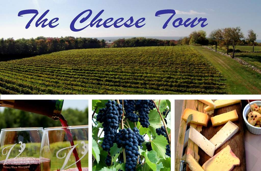 Vineyard and winery tours, wine tasting on the Cheese Tour at Victory View Vineyard.